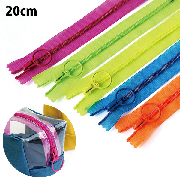 SKF20-N1~5 ネオンスケルトンファスナー 20cm 同色5本入 (袋)
