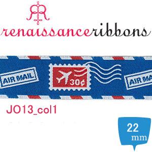 JO13-22-col1 USAジャガード織リボン 22mm巾 m単位 (m)